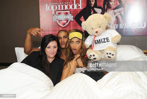 Kelly Cutrone Rob Evans and Tyra Banks attend the America's Next Top Model College Edition Cycle 19 Premiere at the Tribeca Grand Hotel on August 22...