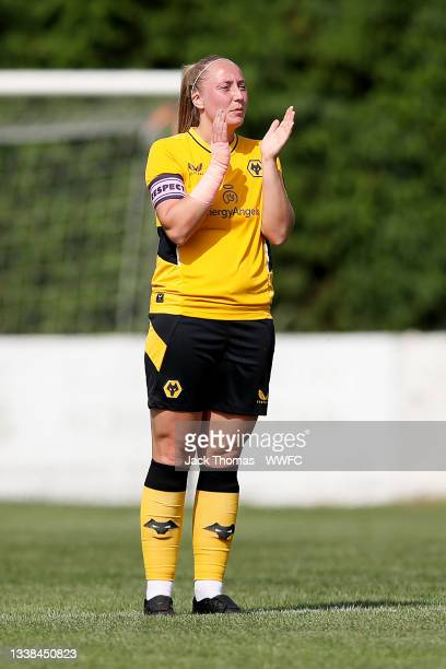 Kelly Darby of Wolverhampton Wanderers reacts during the FAWNL Northern Premier Division match between Wolverhampton Wanderers Women and Nottingham...