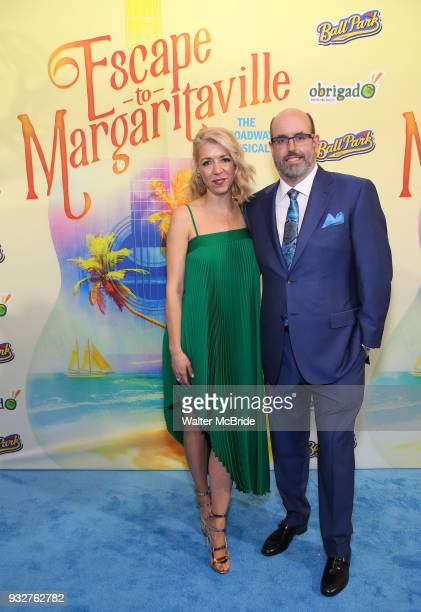 Kelly Devine and Christopher Ashley attend the Broadway Opening Night After Party for 'Escape To Margaritaville' at Pier Sixty on March 15 2018 in...