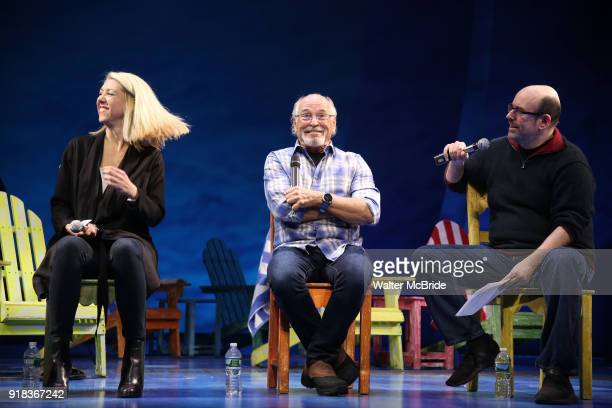 Kelly Devine Jimmy Buffett and Christopher Ashley during the Press Sneak Peak for the Jimmy Buffett Broadway Musical 'Escape to Margaritaville' on...