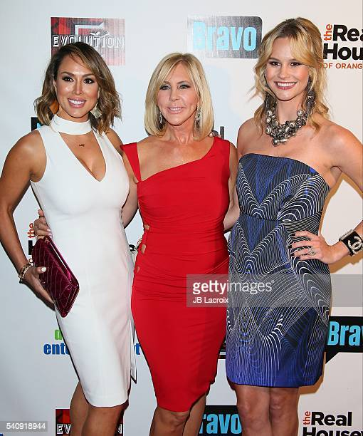 Kelly Dodd Vicki Gunvalson and Meghan King Edmonds attend the premiere party for Bravo's 'The Real Housewives of Orange County' 10 Year Celebration...