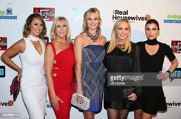 Kelly Dodd Vicki Gunvalson and Meghan King Edmonds Shannon Beador and Heather Dubrow attend the premiere party for Bravo's 'The Real Housewives of...