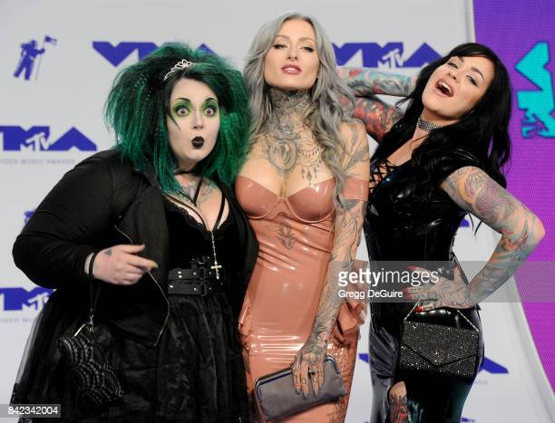 Kelly Doty, Ryan Ashley Malarkey and Nikki Simpson of 'Ink Master: Angels' arrive at the 2017 MTV Video Music Awards at The Forum on August 27, 2017...