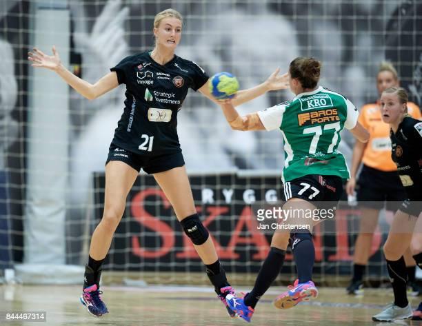 Kelly Dulfer of Copenhagen Handball defend during the Danish HTH Go Ligaen match between Copenhagen Handball and Silkeborg Voel in...