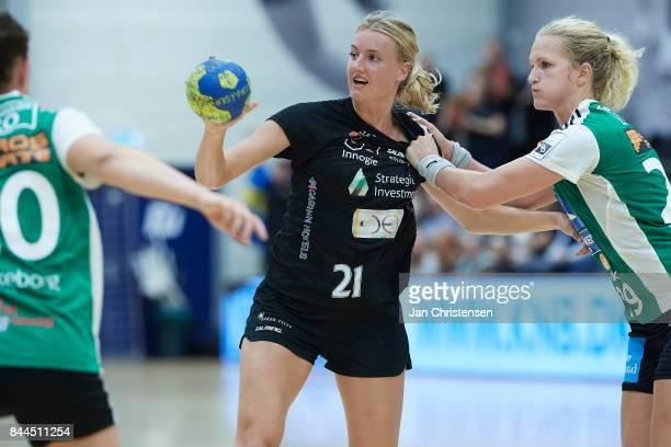 Kelly Dulfer of Copenhagen Handball in action during the Danish HTH Go Ligaen match between Copenhagen Handball and Silkeborg Voel in...
