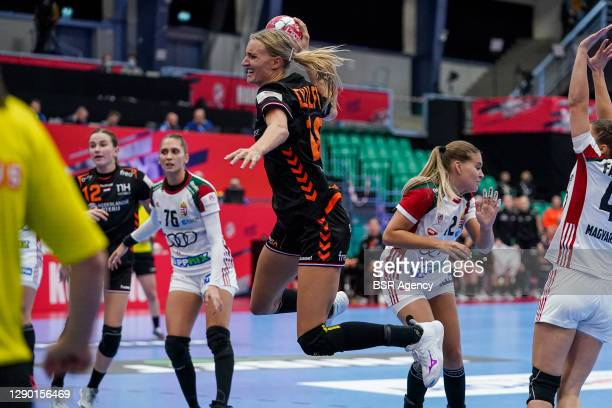 Kelly Dulfer of Netherlands, Dorrotya Faluvegi of Hungary during the Women's EHF Euro 2020 match between Netherlands and Hungary at Sydbank Arena on...