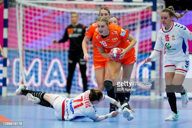 Kelly Dulfer of Netherlands during the Women's EHF Euro 2020 match between Netherlands and Serbia at Sydbank Arena on december 5, 2020 in Kolding,...
