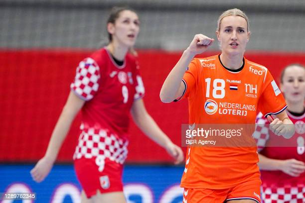 Kelly Dulfer of Netherlands during the Women's EHF Euro 2020 match between Netherlands and Croatia at Sydbank Arena on december 6, 2020 in Kolding,...