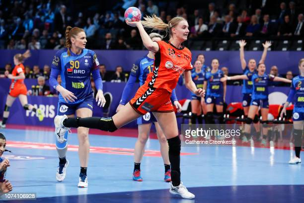 Kelly Dulfer of Netherlands is shooting the ball during the EHF Women's Euro 2018 Bronze Medal Play-off between Romania and Netherlands at...