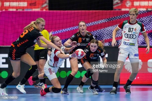 Kelly Dulfer of Netherlands, Lois Abbingh of Netherlands, Bo Van Wetering of Netherlands during the Women's EHF Euro 2020 match between Netherlands...