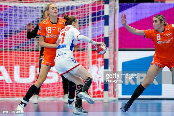 Kelly Dulfer of Netherlands, Marija Agbaba of Serbia during the Women's EHF Euro 2020 match between Netherlands and Serbia at Sydbank Arena on...
