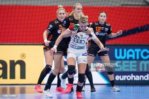 Kelly Dulfer of Netherlands, Noemi Hafra of Hungary during the Women's EHF Euro 2020 match between Netherlands and Hungary at Sydbank Arena on...
