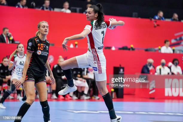 Kelly Dulfer of Netherlands, Zita Szucsanszki of Hungary during the Women's EHF Euro 2020 match between Netherlands and Hungary at Sydbank Arena on...