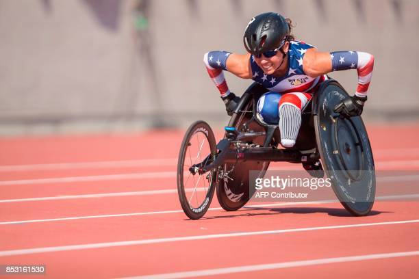 Kelly Elmlinger of the United States competes in the women's IT4 100 meters at the athletics competition at the Invictus Games in Toronto Ontario...