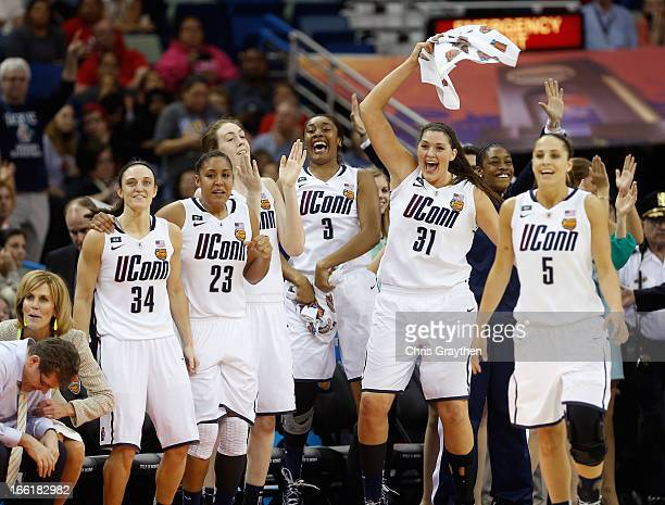 Kelly Faris Kaleena MosquedaLewis Breanna Stewart Morgan Tuck Stefanie Dolson and Caroline Doty of the Connecticut Huskies celebrate late in the game...