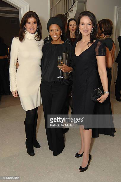 Kelly Fisher Katz, Gelila Puck and Bui Simon attend Monique Lhuillier and Tom Bugbee celebrate their new home in honor of Margaret Russell and ELLE...