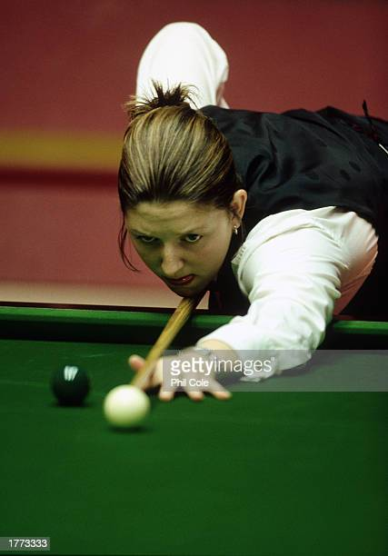 Kelly Fisher of England in action during the 1999 Embassy Ladies World Snooker Championship held on April 22 1999 at the Crucible in Sheffield England