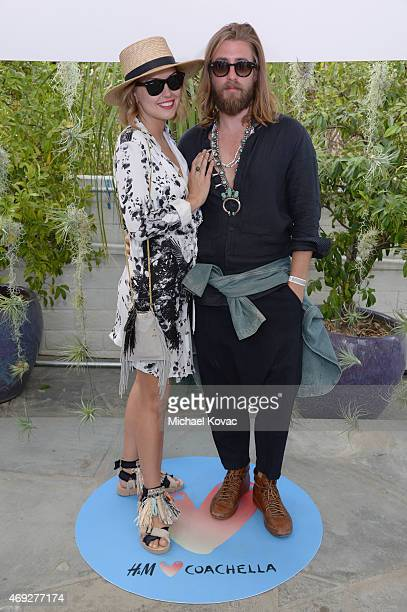 Kelly Framel and Zach Lynd attend the Official HM Loves Coachella Party at the Parker Palm Springs on April 10 2015 in Palm Springs California