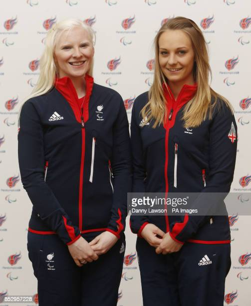 Kelly Gallagher and Charlotte Evans Guide to Kelly Gallagher Alpine Skiing during the Paralympic Team GB Launch for Sochi at the Radisson Blu Hotel...
