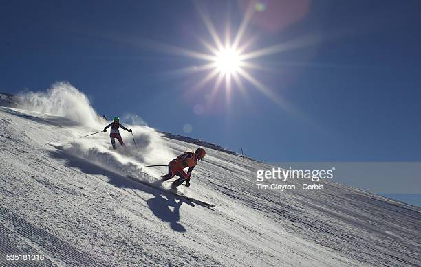 Kelly Gallagher Great Britain with guide Charlotte Evans in action during the Women Giant Slalom Visually Impaired competition at Coronet Peak during...