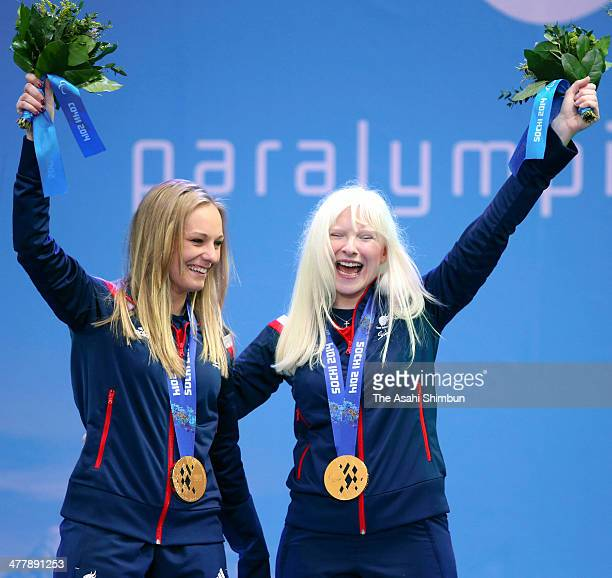 Kelly Gallagher of Great Britain and guide Charlotte Evans clebrate winning gold in the Women's SuperG Visually Impaired during day three of Sochi...