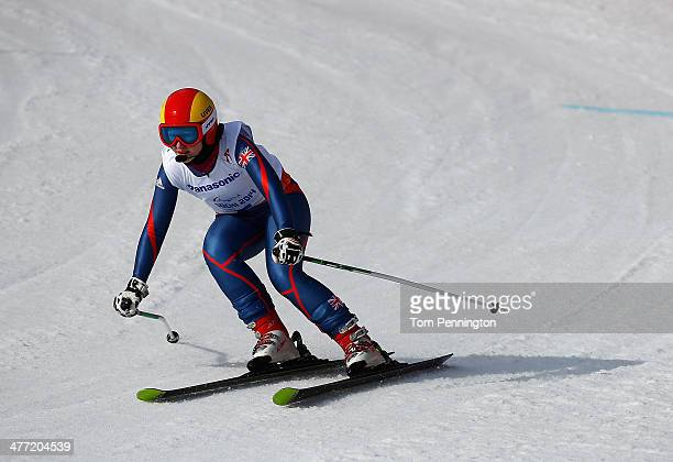 Kelly Gallagher of Great Britain compete in the Women's Downhill Visually Impaired during day one of Sochi 2014 Paralympic Winter Games at Rosa...