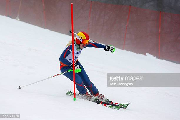 Kelly Gallagher of Great Britain competes in the Women's SC Slalom Run 1 Visually Impaired during day four of Sochi 2014 Paralympic Winter Games at...