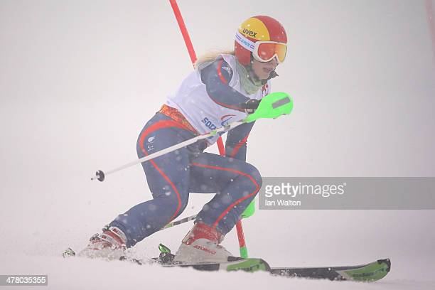 Kelly Gallagher of Great Britain competes in the Women's Slalom 1st Run Visually Impaired during day five of Sochi 2014 Paralympic Winter Games at...