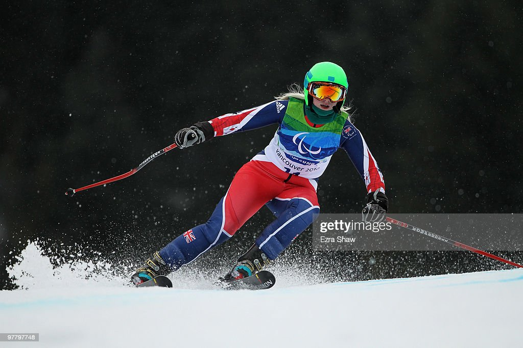 Kelly Gallagher of Great Britain competes in the Women's Visually Impaired Giant Slalom during Day 5 of the 2010 Vancouver Winter Paralympics at Whistler Creekside on March 16, 2010 in Whistler, Canada.