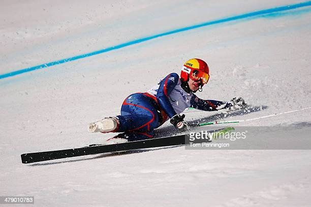 Kelly Gallagher of Great Britain crashes in the Women's Giant Slalom Visually Impaired during day nine of the Sochi 2014 Paralympic Winter Games at...