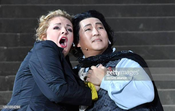 Kelly God playing Tosca and Andrea Shin playing Cavaradossi perform a scene from Giacomo Puccini's opera 'Tosca' for this year Domstufen Festival...