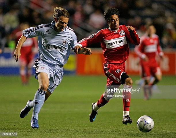 Kelly Gray of the Colorado Rapids and Calen Carr of the Chicago Fire chase after the ball during the second half at Toyota Park on April 26 2008 in...