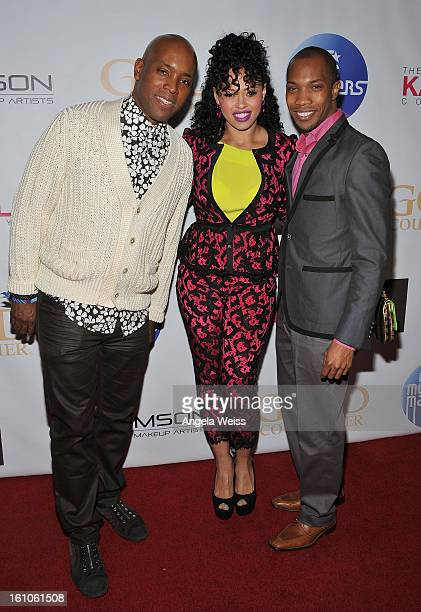 """Kelly Griffin Elle Varner and AJ Crimson arrive at BET Network's Music Matters Showcase """"Lipstick On The Mic"""" at Belasco Theatre on February 8, 2013..."""