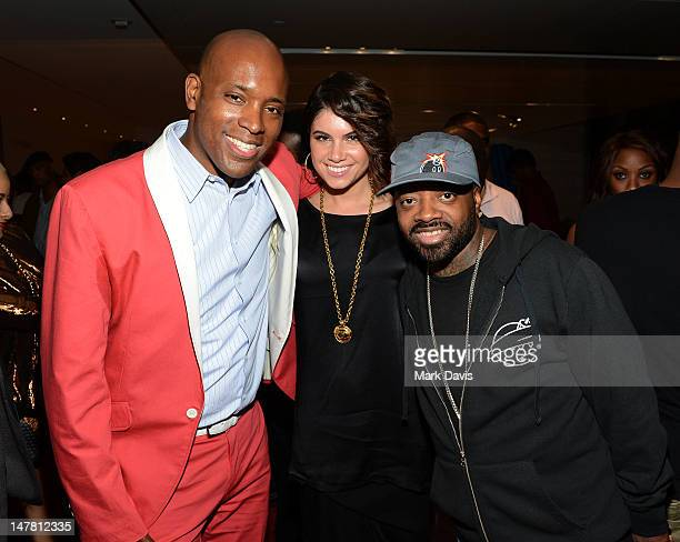 Kelly Griffin Leah LeBelle and Jermaine Dupri pose at the 2012 BET Music Matters Showcase held at Creative Artists Agency on July 2 2012 in Los...