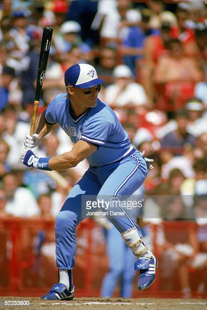 Kelly Gruber of the Toronto Blue Jays stands ready at the plate during a game against the Chicago White Sox in 1988 at Comiskey Park in Chicago...