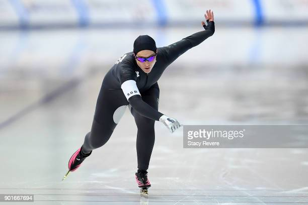 Kelly Gunther competes in the Ladies 500 meter event during the Long Track Speed Skating Olympic Trials at the Pettit National Ice Center on January...