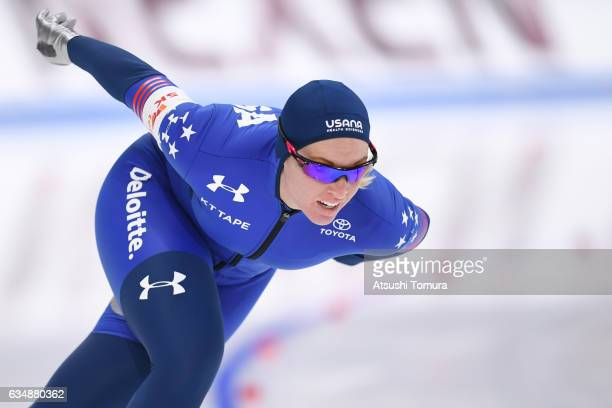 Kelly Gunther of the USA competes in the ladies 1500m during the ISU World Single Distances Speed Skating Championships Gangneung Test Event For...