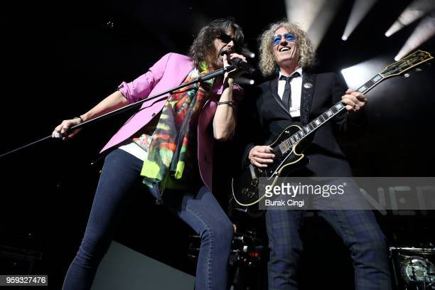 Kelly Hansen and Bruce Watson of Foreigner perform live on stage at Royal Albert Hall on May 16 2018 in London England