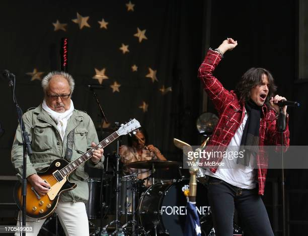 Kelly Hansen and Mick Jones of Foreigner perform at FOX Friends All American Concert Series outside of FOX Studios on June 14 2013 in New York City