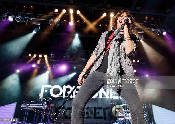 Kelly Hansen of Foreigner performs on stage at Abbotsford Centre on October 22 2017 in Abbotsford Canada