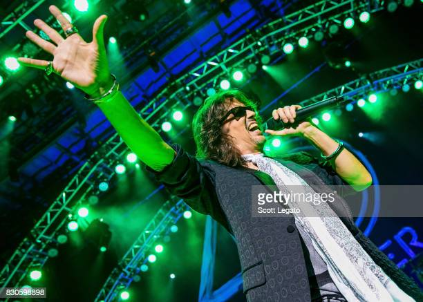 Kelly Hansen of the band Foreigner performs during their 40th Anniversary Tour at DTE Energy Music Theater on August 11 2017 in Clarkston Michigan
