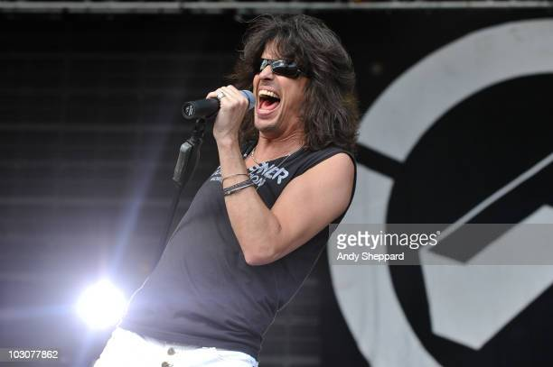 Kelly Hanson of Foreigner perform on stage during the first day of High Voltage Festival 2010 at Victoria Park on July 24 2010 in London England