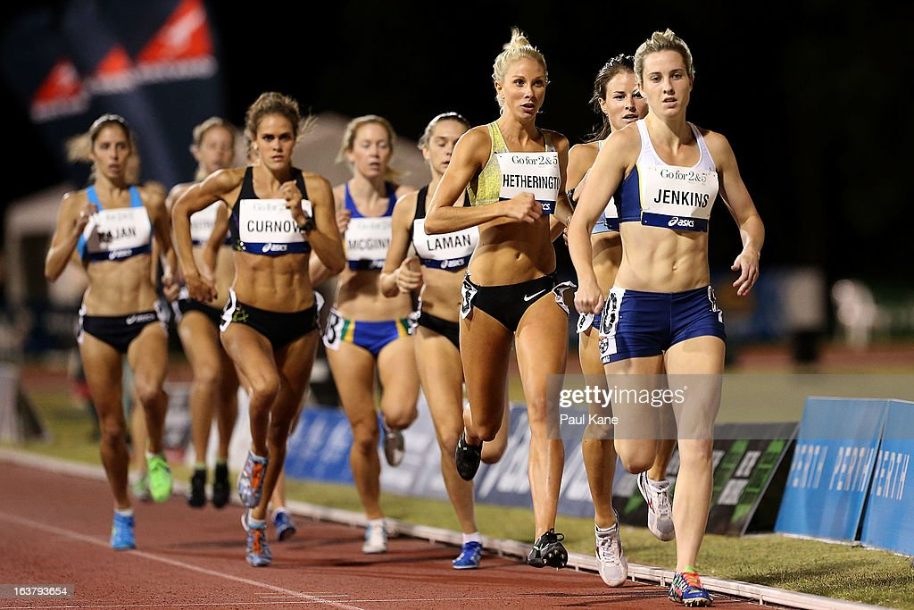 Kelly Hetherington competes in the womens open 800 metre race during the Perth Track Classic at the WA Athletics Stadium on March 16, 2013 in Perth, Australia.
