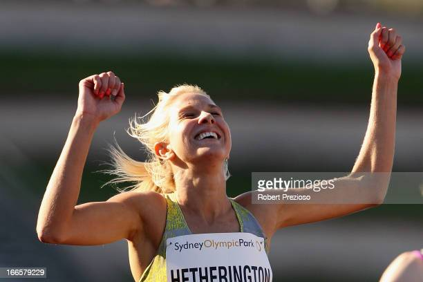 Kelly Hetherington of VIC celebrates after winning in Women 800m Open during day four of the 2013 Australian Athletics Championships at Sydney...