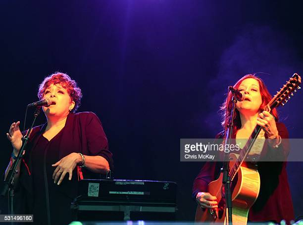 Kelly Hogan and Nora O'Conner perform with The Decemberists at Centennial Olympic Park on May 14 2016 in Atlanta Georgia