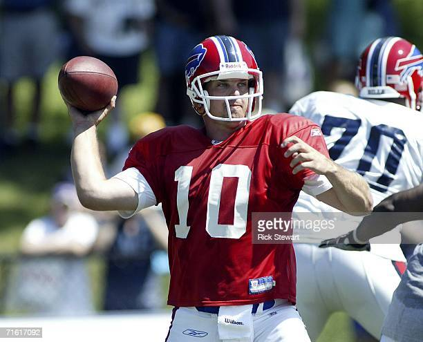 Kelly Holcomb of the Buffalo Bills throws a pass during training camp on August 9 2006 at St John Fisher College in Pittsford New York