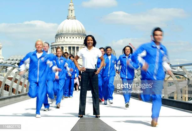 Kelly Holmes and Runners during The Blue Planet Run Photocall at Tate Modern in London Great Britain