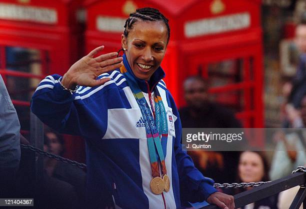 Kelly Holmes during Olympic Parade Of Heroes at Piccadilly in London, Great Britain.