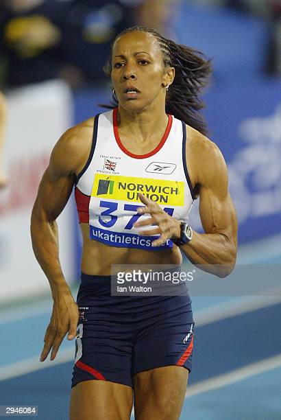 Kelly Holmes of England in action during the Womens 800 metres final during the Norwich Union World Indoor Athletics Trials at the English Institue...