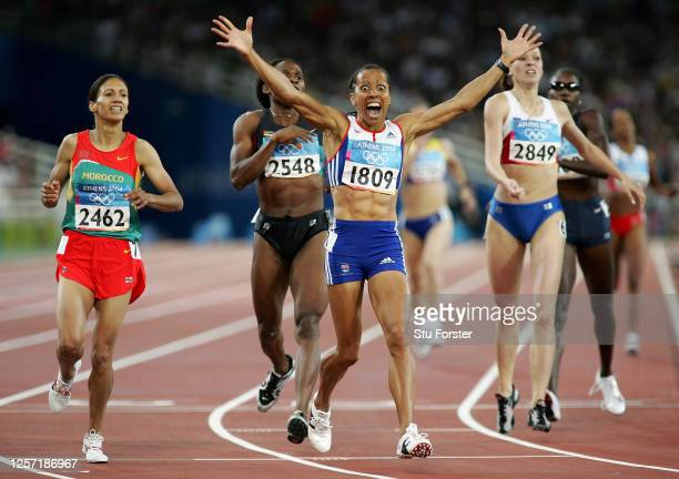 Kelly Holmes of Great Britain celebrates after she win gold in the women's 800 metre final on August 23, 2004 during the Athens 2004 Summer Olympic...